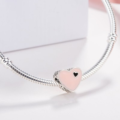 Pink Heart Charm Sterling Silver