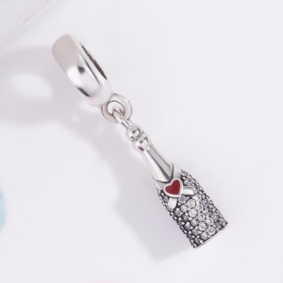 Winebottle with Red Heart Charm Sterling Silver