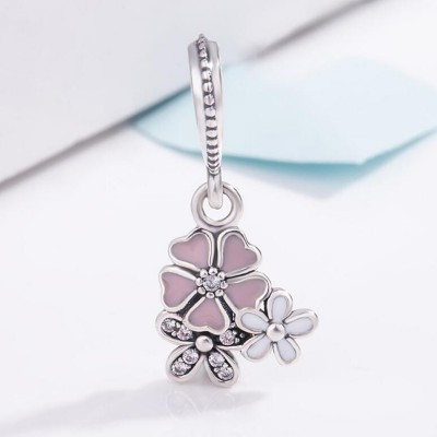 Pink & White Flowers Charm Sterling Silver