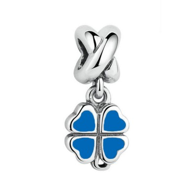 Clover Blue Charm Sterling Silver