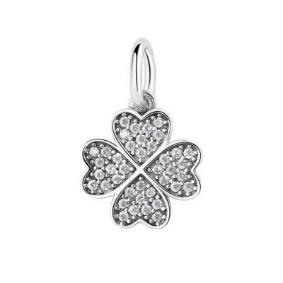 Clover Hearts Charm Sterling Silver