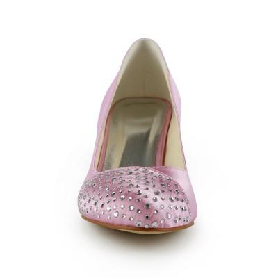 Women's Fashion Satin Stiletto Heel Closed Toe With Rhinestone Pink Wedding Shoes