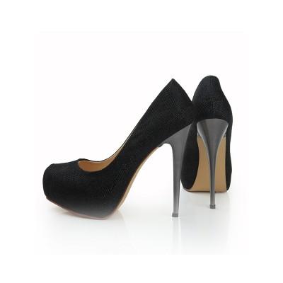 Women's Elastic Leather Closed Toe Stiletto Heel Platform Platforms Shoes