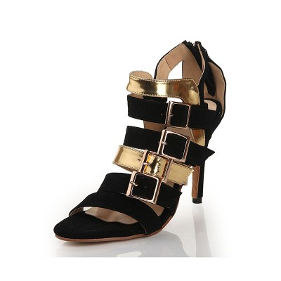 Women's Flock Peep Toe Stiletto Heel With Buckle Sandals Shoes