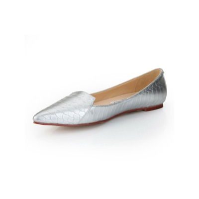 Women's Flat Heel Sheepskin Closed Toe With Fish-scale Pattern Flat Shoes