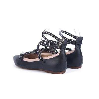 Women's Sheepskin Flat Heel Closed Toe With Straps Casual Flat Shoes