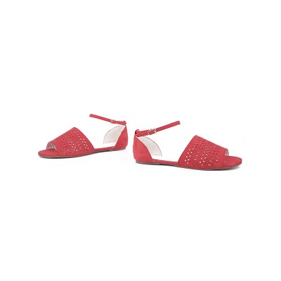 Women's Flock Flat Heel Peep Toe With Hot Drilling Red Sandals Shoes