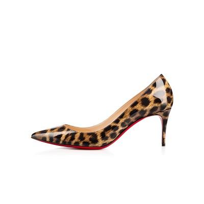 Women's Leopard Print Patent Leather Closed Toe Stiletto Heel High Heels