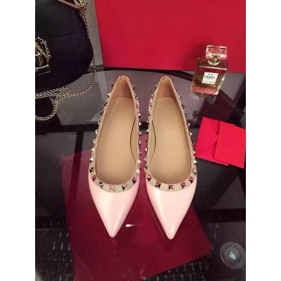 Women's Pink Flat Heel Sheepskin Closed Toe With Rivet Party Casual Flat Shoes