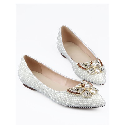 Women's Patent Leather Closed Toe Rhinestones Flat Shoes