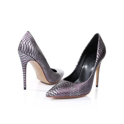 Women's Closed Toe PU Stiletto Heel With Snake Print High Heels