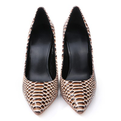 Women's Closed Toe PU Stiletto Heel With Snake Print High Heels