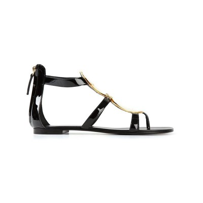 Women's Patent Leather Flat Heel Peep Toe With Zipper Sandals Shoes
