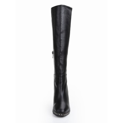 Women's Cattlehide Leather Chunky Heel Closed Toe With Chain Knee High Black Boots