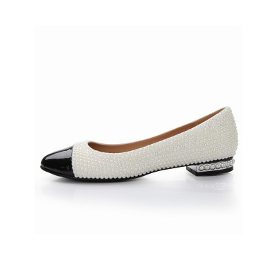 Women's Patent Leather Flat Heel Closed Toe With Pearl Casual Flat Shoes