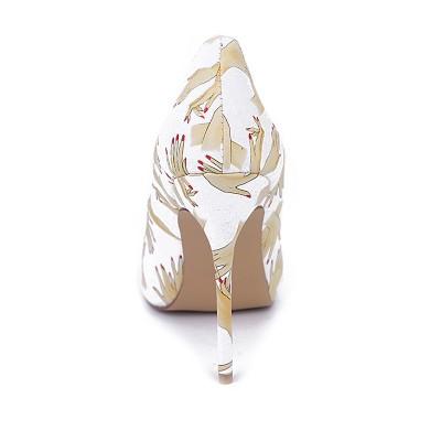 Women's Closed Toe PU Stiletto Heel With Printing High Heels