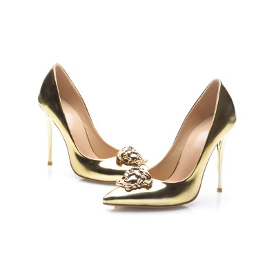 Women's Gold Patent Leather Closed Toe Stiletto Heel High Heels