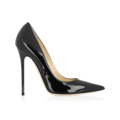 Women's Black Patent Leather Closed Toe Stiletto Heel Office High Heels
