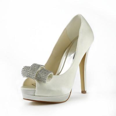 Women's Satin Stiletto Heel Peep Toe Platform Ivory Wedding Shoes With Rhinestone