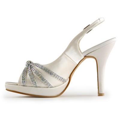 Women's Satin Stiletto Heel Peep Toe Platform With Rhinestone Champagne Wedding Shoes