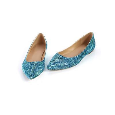 Women's Closed Toe Flat Heel Sheepskin With Sequin Flat Shoes
