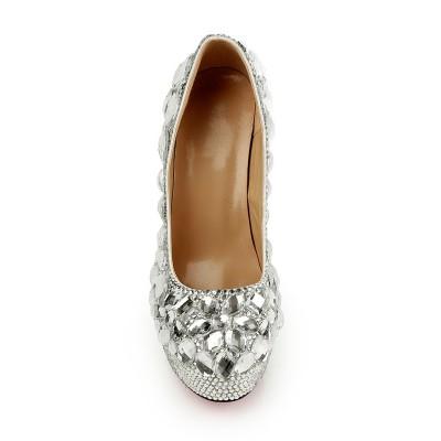 Women's Closed Toe Stiletto Heel Platform Platforms Shoes With Rhinestones