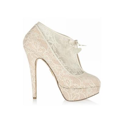 Women's Lace Stiletto Heel Closed Toe Platform Wedding Champagne Boots