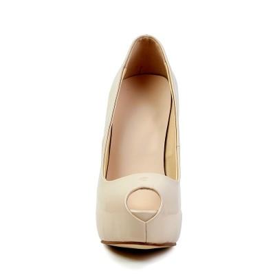Women's Stiletto Heel Patent Leather Peep Toe Platform High Heels