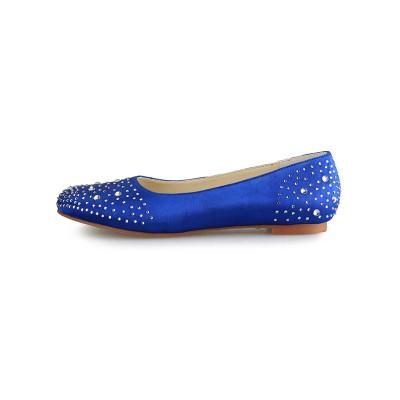 Women's Flat Heel Satin Closed Toe With Rhinestone Flat Shoes