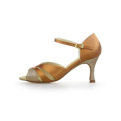 Women's Peep Toe Satin Stiletto Heel Sparkling Glitter Dance Shoes