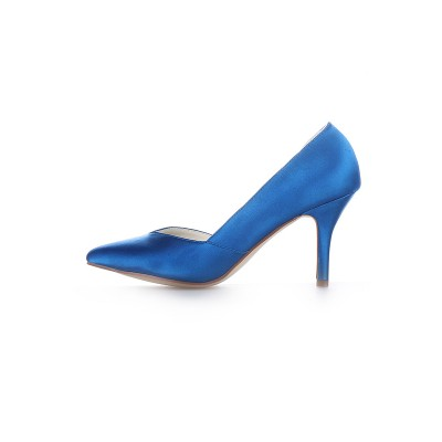 Women's Cone Heel Satin Closed Toe High Heels